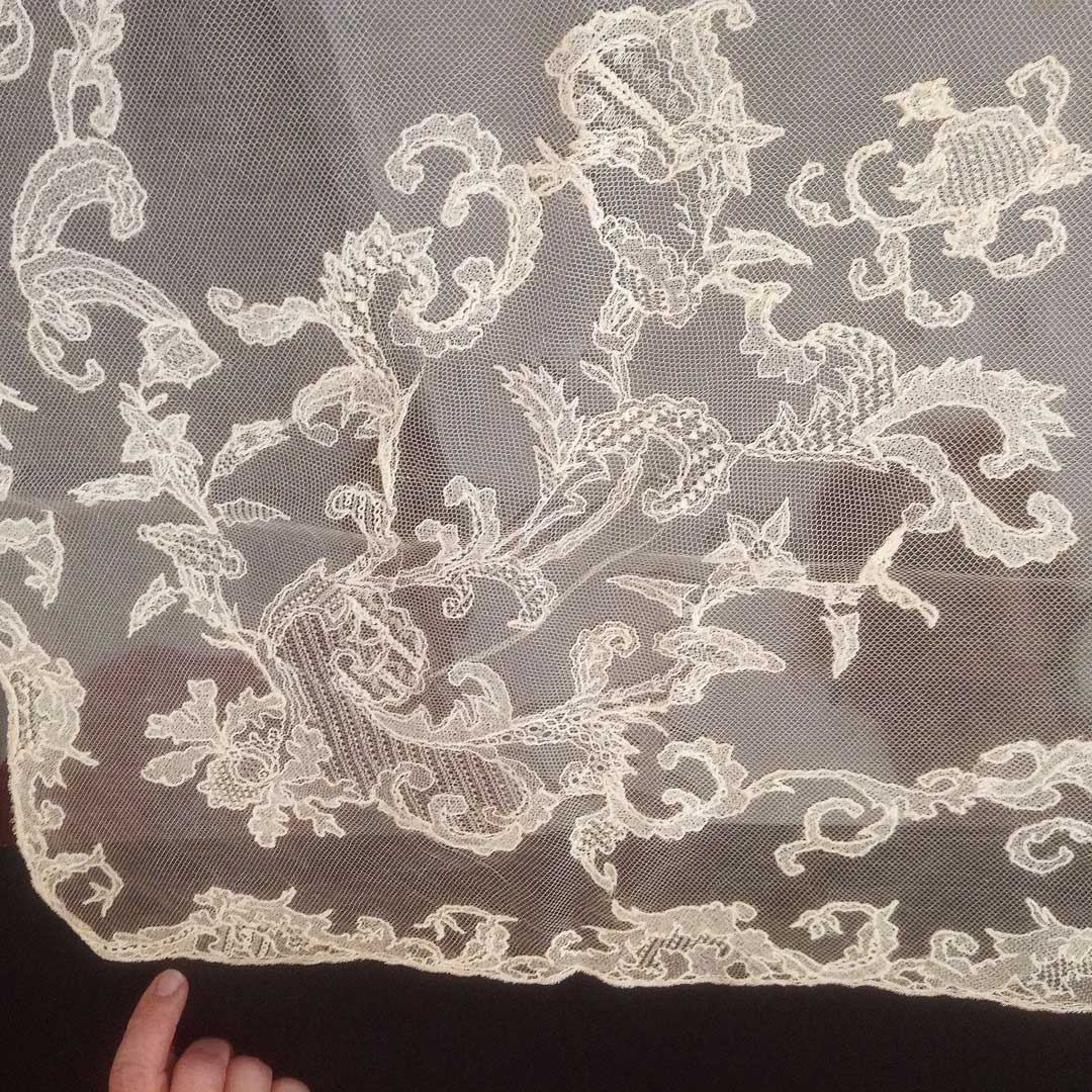 Large square cream coloured Limerick Lace veil
