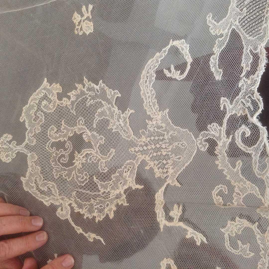 Large square cream coloured Limerick Lace veil